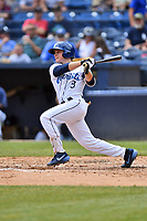 Asheville Tourists second baseman Kyle Datres (3) swings at a pitch during a game against the Delmarva Shorebirds at McCormick Field on May 5, 2019 in Asheville, North Carolina. The Shorebirds defeated the Tourists 10-9. (Tony Farlow/Four Seam Images)