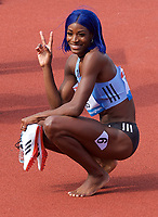 Shaunae Miller-Uibo (Bahamas) after winning the women's 200m during the IAAF Diamond League Athletics Müller Grand Prix Birmingham at Alexander Stadium, Walsall Road, Birmingham on 18 August 2019. Photo by Alan  Stanford.