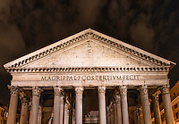 The Pantheon church exterior detail at night, Rome, Italy. Also known as Santa Maria Rotonda.