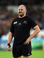 Ben Franks of New Zealand looks on during a break in play. Rugby World Cup Pool C match between New Zealand and Namibia on September 24, 2015 at The Stadium, Queen Elizabeth Olympic Park in London, England. Photo by: Patrick Khachfe / Onside Images