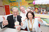 "NO REPRO FEE. 26/5/2011. EDDIE ROCKET'S STILLORGAN TAKES OFF WITH 10 NEW JOBS.  Pictured in the new Eddie Rocket's Shake Shop are Frank Murphy President of the Stillorglin Chamber of Commerce, Peter Fortune, owner and Cathadirleach of Dun Laoghaire Rathdown Co Co Clr Lettie Mc Carthy. The design seeks to recall the vintage milkshake bars from 1950's America and re-imagine them for the 21st century. The new look aims to appeal to both young and old with a quirky and bold colour scheme and a concept of make-your-own milkshakes, based on the tag line ""You make it...We shake it!"". Eddie Rocket's City Diner in the Stillorgan Shopping Centre in south Dublin has re-opened after an exciting re-vamp and the addition of a Shake Shop. Ten new jobs have been created with the Diner's re-launch bringing the total working in Eddie Rocket's Stillorgan to 30. Picture James Horan/Collins Photos"
