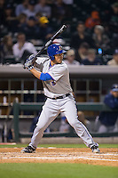 Luke Maile (46) of the Durham Bulls at bat against the Charlotte Knights at BB&T BallPark on April 14, 2016 in Charlotte, North Carolina.  The Bulls defeated the Knights 2-0.  (Brian Westerholt/Four Seam Images)
