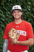 Jack Conlon (23) of Clements High School in Sugar Land, Texas poses for a photo before the Under Armour All-American Game presented by Baseball Factory on July 23, 2016 at Wrigley Field in Chicago, Illinois.  (Mike Janes/Four Seam Images)