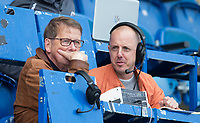 Bill Turnbull with BBC Three Counties Phil Catchpole during the Sky Bet League 2 match between Colchester United and Wycombe Wanderers at the Weston Homes Community Stadium, Colchester, England on 23 September 2017. Photo by Andy Rowland.