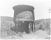 North side view of the Rico water tank tank post-abandonment with heavy weed growth.  Two storage cars are in the background.<br /> RGS  Rico, CO  Taken by Payne, Andy M. - 6/1969