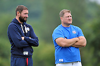 Senior Academy Coach David Williams and Forwards coach Neal Hatley look on. Bath Rugby training session on September 23, 2013 at Farleigh House in Bath, England. Photo by: Patrick Khachfe/Onside Images