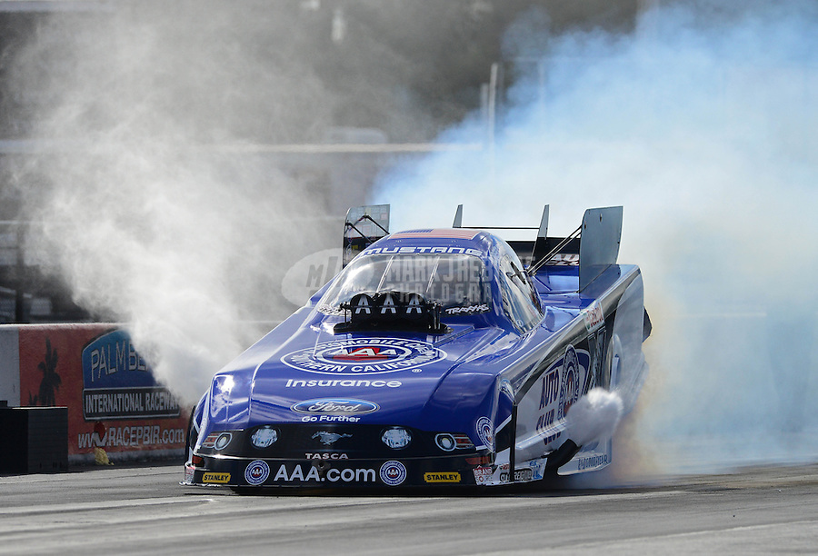 Jan. 16, 2013; Jupiter, FL, USA: NHRA funny car driver Robert Hight during testing at the PRO Winter Warmup at Palm Beach International Raceway.  Mandatory Credit: Mark J. Rebilas-