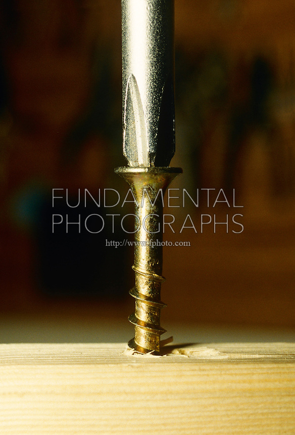 SCREWDRIVER TURNING SCREW<br /> Tip of screwdriver turning screw into wood