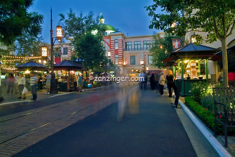 Grove, Shopping Center, Mall,  Fairfax District, Los Angeles, CA, Retail, Stores, Neon Lights, Twilight, Blue Light, Magic Hour,