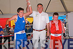 Cashen Vale Open-air Boxing Tournament: Cashen Vale boxer Michael Falvey celebrates his win over Dominic Shaughnessy at the open-air boxing tournament held in JD's Bar Ballybunion on Sunday evening last.