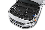 Car Stock 2017 Volvo V60 T5 5 Door Wagon Engine  high angle detail view