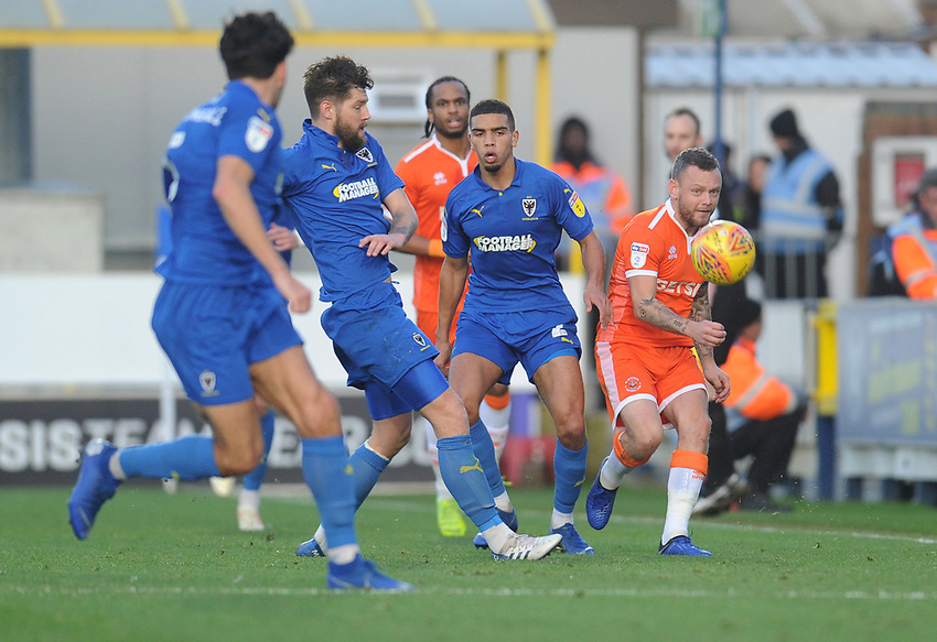 Blackpool's Jay Spearing under pressure from AFC Wimbledon's Anthony Wordsworth<br /> <br /> Photographer Kevin Barnes/CameraSport<br /> <br /> The EFL Sky Bet League One - AFC Wimbledon v Blackpool - Saturday 29th December 2018 - Kingsmeadow Stadium - London<br /> <br /> World Copyright © 2018 CameraSport. All rights reserved. 43 Linden Ave. Countesthorpe. Leicester. England. LE8 5PG - Tel: +44 (0) 116 277 4147 - admin@camerasport.com - www.camerasport.com