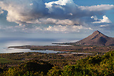 MAURITIUS, a view of the West Coast of Mauritius from Plaine Champagne Road towards the town of La Preneuse, Tamarin sits on the backside of the mountain