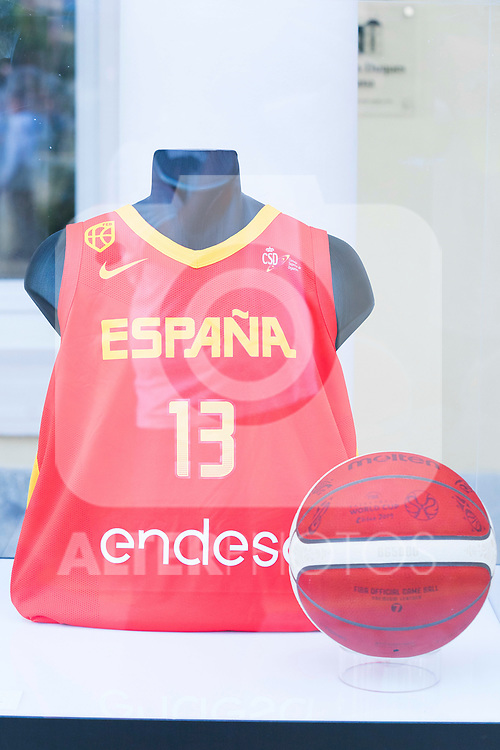 Spanish tshirt and ball for China World Cup 2019 exposed during the first edition of Spanish Basketball Awards. July 25, 2019. (ALTERPHOTOS/Francis Gonzalez)
