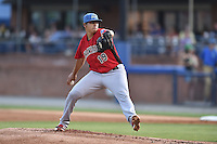 Hickory Crawdads starting pitcher Ariel Jurado (19) delivers a pitch during the South Atlantic League All Star Game on June 23, 2015 in Asheville, North Carolina. The North Division defeated the South 7-5(Tony Farlow/Four Seam Images)