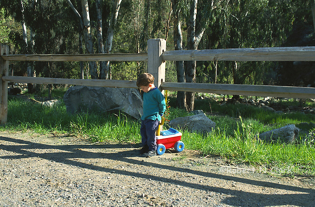 Boy by fence with small wagon toy