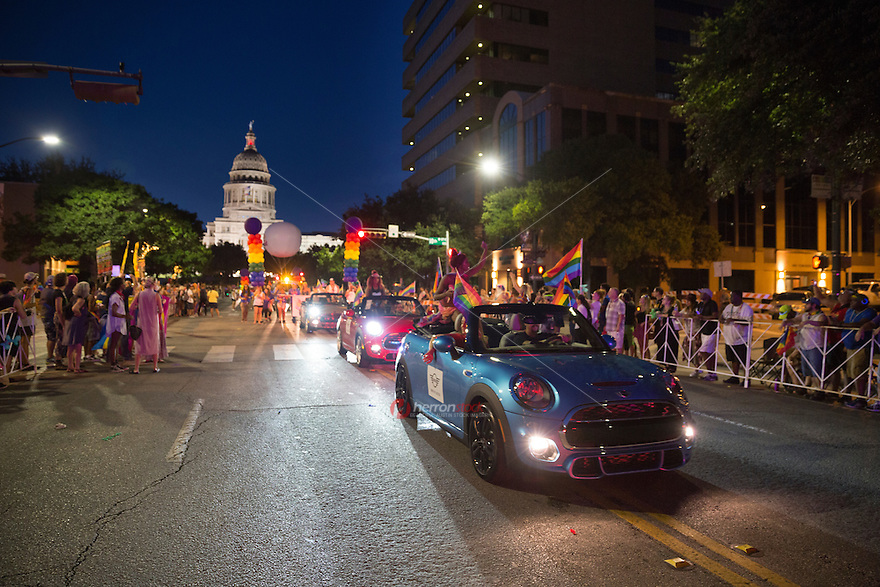 The Austin PRIDE parade marches through downtown Austin Saturday, Aug. 27, 2016. <br />