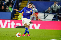 9th March 2020; King Power Stadium, Leicester, Midlands, England; English Premier League Football, Leicester City versus Aston Villa; James Justin of Leicester City hits the ball out of play to clear the danger