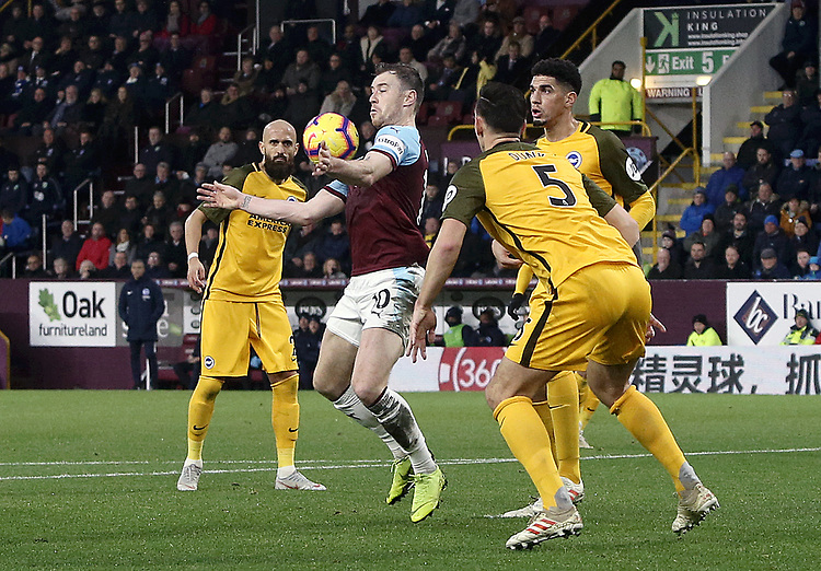 Burnley's Ashley Barnes controls under pressure from Brighton & Hove Albion's Lewis Dunk<br /> <br /> Photographer Rich Linley/CameraSport<br /> <br /> The Premier League - Burnley v Brighton and Hove Albion - Saturday 8th December 2018 - Turf Moor - Burnley<br /> <br /> World Copyright © 2018 CameraSport. All rights reserved. 43 Linden Ave. Countesthorpe. Leicester. England. LE8 5PG - Tel: +44 (0) 116 277 4147 - admin@camerasport.com - www.camerasport.com
