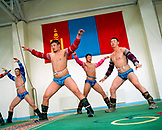 MONGOLIA, Ulaanbaatar, Mongolian wrestlers training at the Olympic school facility