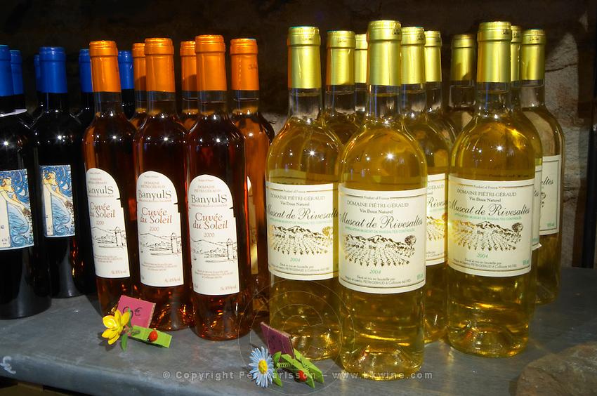 Cuvee du Soleil, Muscat de Rivesaltes. Domaine Pietri-Geraud Roussillon. The wine shop and tasting room. France. Europe. Bottle.