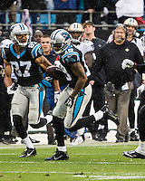The Carolina Panthers played the New Orleans Saints for supremacy in the NFC South.  December 22, 2013 at Bank of America Stadium.  The Panthers scored the winning touchdown with 23 seconds left in the game to give them the opportunity to clinch the NFC South with a win next week.  Carolina Panthers wide receiver Ted Ginn (19) catches a 37 yard reception to set up the Panthers winning touchdown.