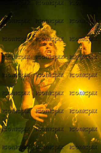 Slayer - guitarist Kerry King - performing live on the Reign in Pain Tour at the Hammersmith Odeon in London UK - 22 Apr 1987.  Photo credit: PG Brunelli/IconicPix