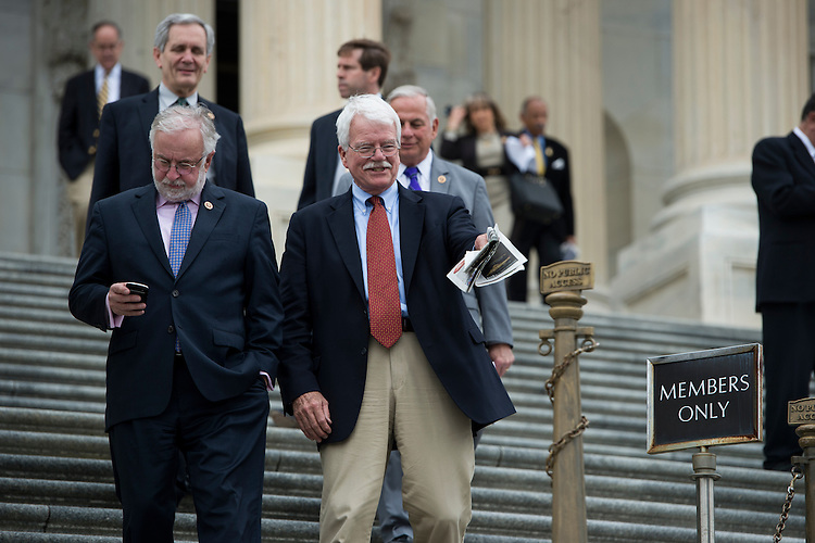 UNITED STATES - APRIL 4: Rep. Tim Bishop, D-NY, and Rep. George Miller, D-Calif., leave the Capitol following the last vote of the week on Friday, April 4, 2014. (Photo By Bill Clark/CQ Roll Call)