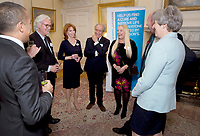 30 October 2017 - Prime Minister Theresa May with Adil Ray, Billy Connolly, Jane Asher, Gerald Scarfe and Pamela Stephenson at a reception at 10 Downing Street in London, marking 200 years since Dr James Parkinson's Essay on the Shaking Palsy. Photo Credit: ALPR/AdMedia