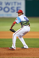 Florida Fire Frogs relief pitcher Kelvin Vasquez (49) delivers a pitch during a game against the St. Lucie Mets on April 19, 2018 at Osceola County Stadium in Kissimmee, Florida.  St. Lucie defeated Florida 3-2.  (Mike Janes/Four Seam Images)