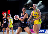 NZ's Ameliaranne Ekenasio takes a pass during the Constellation Cup Netball Series match between the New Zealand Silver Ferns and Australia Diamonds at Horncastle Arena in Christchurch, New Zealand on Sunday, 13 October 2019. Photo: Dave Lintott / lintottphoto.co.nz
