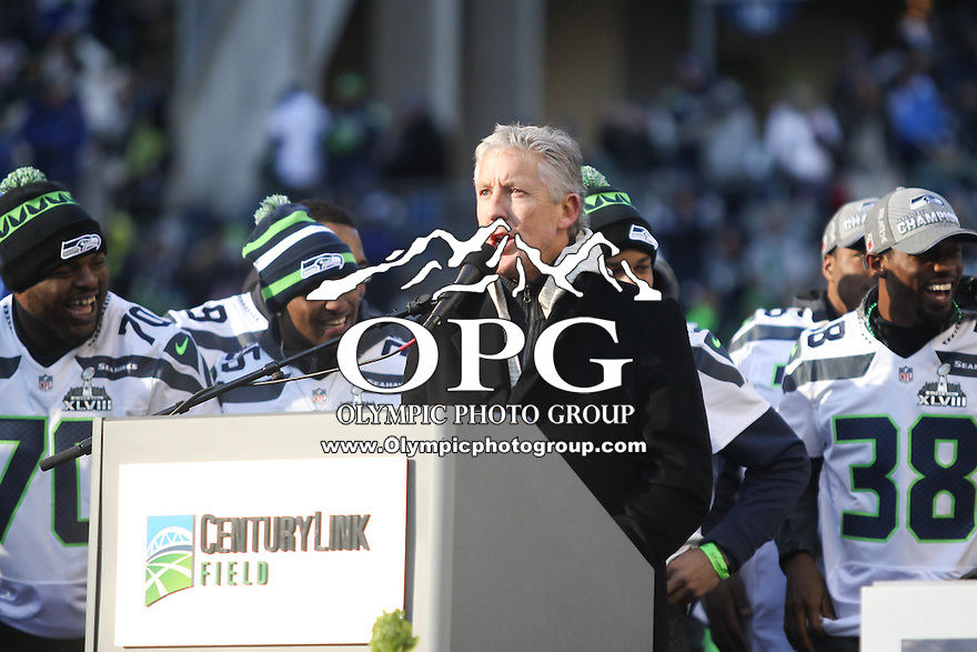 2014-02-05:  Seattle Seahawks head coach Pete Carroll thanked the fans in attendance on Wednesday. Seattle Seahawks players and 12th man fans celebrated bringing the Lombardi trophy home to Seattle during the Super Bowl Parade at Century Link Field in Seattle, WA.