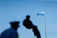 NEW YORK, USA - SEPT 14, A Security officers walks around United Nations Headquarters during preparations for the 71st General Assembly in New York on September 14, 2016. photo by VIEWpress