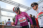 Maglia Ciclamino Fernando Gaviria (COL) UAE Team Emirates at sign on before Stage 4 of the 2019 Giro d'Italia, running 235km from Orbetello to Frascati, Italy. 14th May 2019<br /> Picture: Gian Mattia D'Alberto/LaPresse | Cyclefile<br /> <br /> All photos usage must carry mandatory copyright credit (© Cyclefile | Gian Mattia D'Alberto/LaPresse)