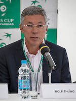 Moscow, Russia, 14 th July, 2016, Tennis,  Davis Cup Russia-Netherlands, Start of the draw Chairman of the Dutch tennis federation KNLTB Rolf Thung<br /> Photo: Henk Koster/tennisimages.com