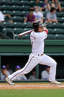 Designated hitter Niko Fraser (1) of the Elon Phoenix bats in a game against the Furman Paladins in a first-round Southern Conference playoffs game on Wednesday, May 22, 2013, at Fluor Field at the West End in Greenville, South Carolina. Furman won, 10-1. (Tom Priddy/Four Seam Images)