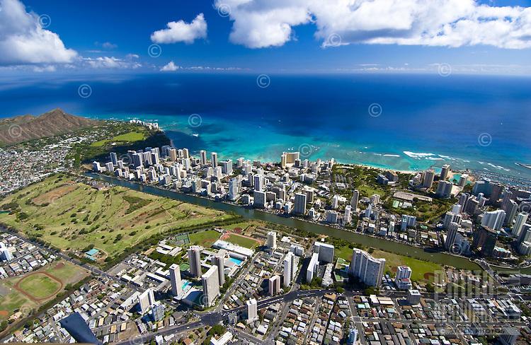 Aerial of Waikiki Beach, Ala Wai canal and harbor, Waikiki, Oahu