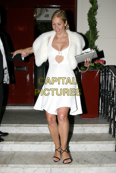 TANIA BRYER.Cancer Research UK Fundraising Dinner, Morton's, Berkeley Square.April 21st, 2004.full length, full-length, white dress, fur, wrap, Tanya.www.capitalpictures.com.sales@capitalpictures.com.© Capital Pictures.