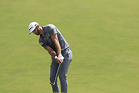Dustin Johnson (USA) chips onto the 1st green during Saturday's Round 3 of the 2017 PGA Championship held at Quail Hollow Golf Club, Charlotte, North Carolina, USA. 12th August 2017.<br /> Picture: Eoin Clarke | Golffile<br /> <br /> <br /> All photos usage must carry mandatory copyright credit (&copy; Golffile | Eoin Clarke)