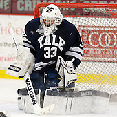 Jeff Malcolm (Yale - 33) - The Yale University Bulldogs defeated the Harvard University Crimson 5-1 on Saturday, November 3, 2012, at Bright Hockey Center in Boston, Massachusetts.