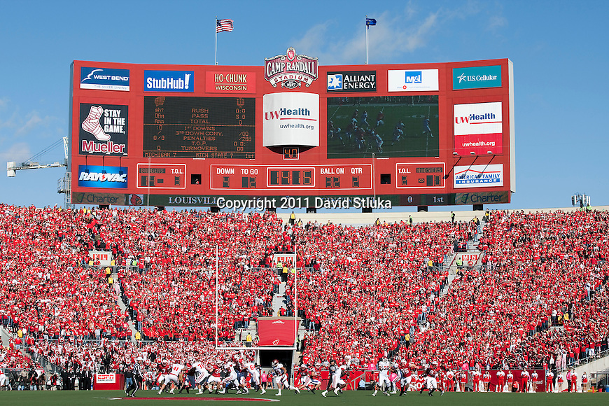 A general view of Camp Randall Stadium from field level during the Wisconsin Badgers NCAA Big Ten Conference college football game against the Indiana Hoosiers on October 15, 2011 in Madison, Wisconsin. The Badgers won 59-7. (Photo by David Stluka)