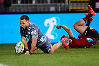 25th July 2020, Christchurch, New Zealand;  Wes Goosen of the Hurricanes celebrates as he goes over for his 2nd try in the Super Rugby Aotearoa, Crusaders versus Hurricanes at Orangetheory stadium, Christchurch