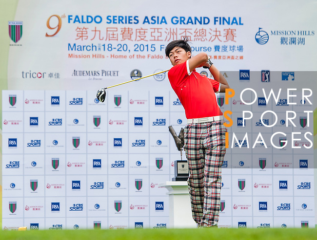 Jie Hong of China tees off at tee one during the 9th Faldo Series Asia Grand Final 2014 golf tournament on March 18, 2015 at Faldo course in Mid Valley clubhouse in Shenzhen, China. Photo by Xaume Olleros / Power Sport Images