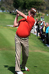 Tournament host Miguel Angel Jimenez (ESP) warms up on the 1st tee to start his round on Day 1 Thursday of the Open de Andalucia de Golf at Parador Golf Club Malaga 24th March 2011. (Photo Eoin Clarke/Golffile 2011)