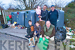 DUMPING: Locals in Milltown who are furious about illegal dumping at the bottle banks near the Mart, including Dan Cronin, Chairman Milltown Community Council (front) with John Clifford and Michael, Liam, Brian and Kate Cronin.