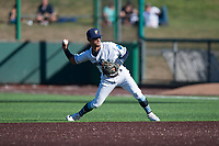 Everett AquaSox second baseman Cesar Izturis Jr. (40) throws to first base during a Northwest League game against the Tri-City Dust Devils at Everett Memorial Stadium on September 3, 2018 in Everett, Washington. The Everett AquaSox defeated the Tri-City Dust Devils by a score of 8-3. (Zachary Lucy/Four Seam Images)