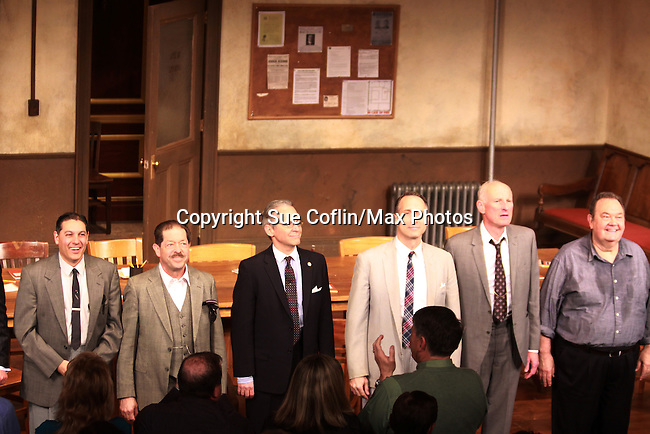 """ATWT Gregg Edelman (3rd left), Guiding Light James Rebhorn """"Bradley Raines"""" and David Schramm (R) (Wings) at the curtain call of Twelve Angry Men on opening night, March 16, 2012 at the George Street Playhouse, New Brunswick, NJ.  (Photo by Sue Coflin/Max Photos)"""