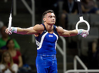 Brandon Wynn of Hilton HHonors competes on the rings during the 2012 US Olympic Trials competition at HP Pavilion in San Jose, California on June 28th, 2012.