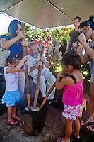 Akiko's Bed and Breakfast Mochi Pounding New Year's Event 2012, Wailea Village, Big Island.