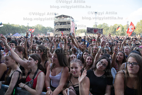 Revllers enjoy a concert of Danish singer Karen Marie Aagaard Orsted Andersen known professionally as MO performing on the Main Stage at Sziget Festival held in Budapest, Hungary on Aug. 13, 2018. ATTILA VOLGYI